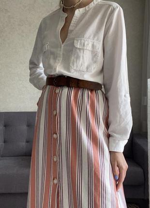 Льняная миди юбка в полоску на пуговицах primark