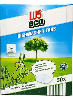 Таблетки для посудомойки без вредных добавок W5 Eco 30 шт Экологи