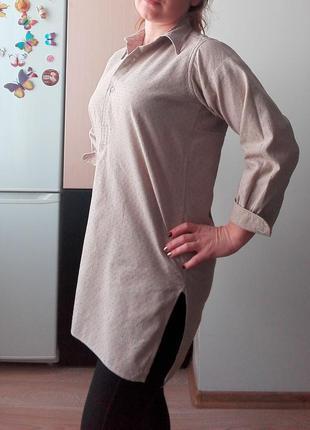 Длинная свободная блуза с разрезами, m-l