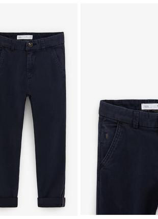 Стильні котонові штани slim для хлопчиків від zara іспанія
