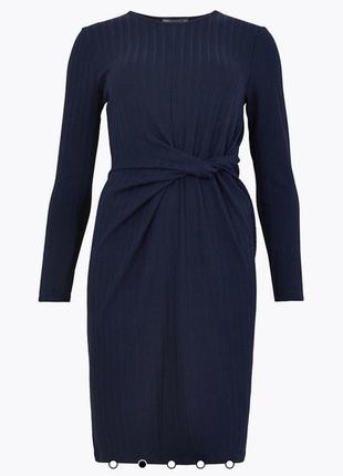 Темно синее трикотажное платье в рубчик marks&spencer размер 1...