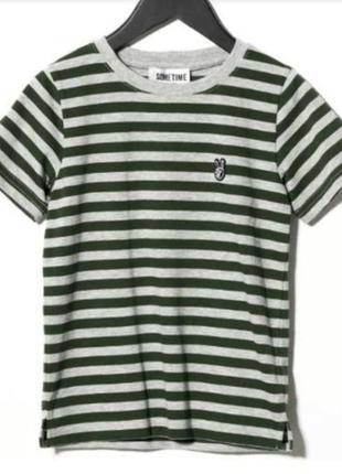 Премиум бренд футболка someday soon хлопок серо/зелёная полоса