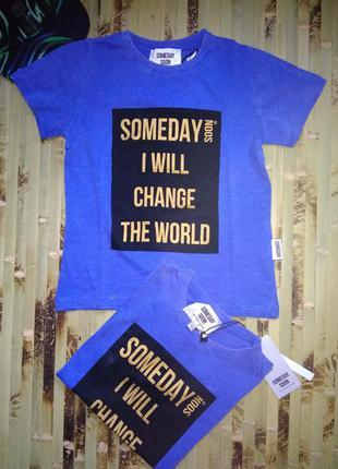 Премиум бренд футболка someday soon голубая с надписью  размер...