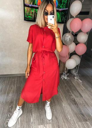 Стильное платье рубашка красного цвета