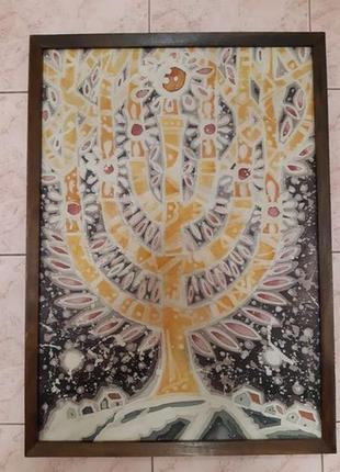 "Картина ""дерево"" в деревянной раме. батик"