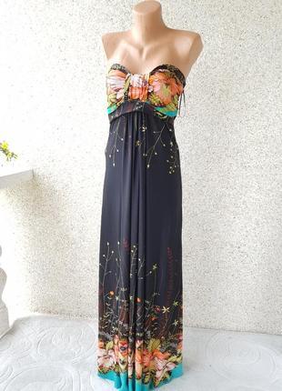 Летнее длинное платье сарафан в пол apricot