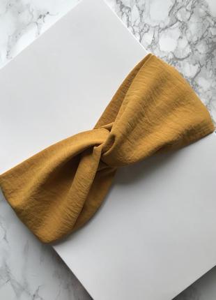 Стильная широкая повязка на голову/тюрбан в горчичном цвете