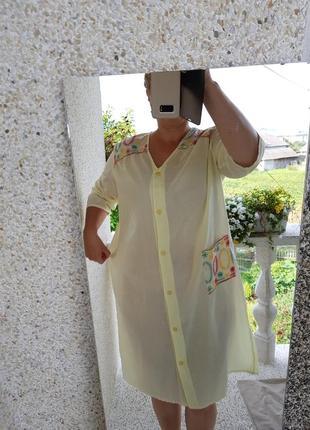 Полупрозрачный домашний халат- ночнушка с вышивкой