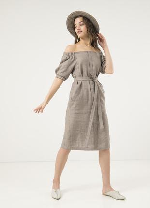 Серое льняное платье season с открытыми плечами