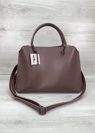 Красивая сумка на три отделения лиловая