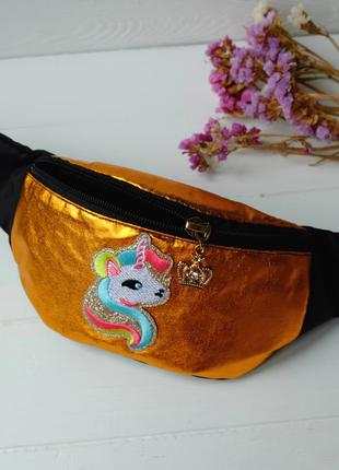 Сумка-бананка с единорогом, поясная блестящая сумка, детская б...