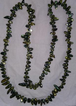 Бусы ожерелье натуральная жемчуг барокко 125см вес 149грамм