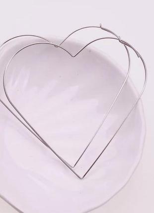 Серьги сердечки золото серебро love
