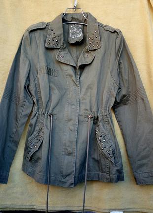 Хлопковая куртка ветровка жакет пиджак в стиле милитари цвета хак