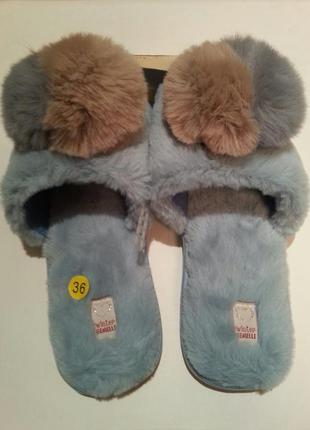 Женские меховые тапочки gemelli с открытым носком