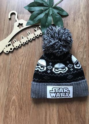 Крутая тёплая шапка на флисе с пампоном tu star wars 3-6 лет