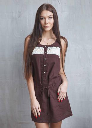 Женское летнее льняное  платье с ажурной отделкой