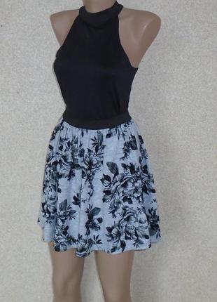 Юбка-солнце мини\в цветочный принт\спідниця міні в квіти