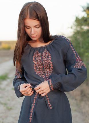Женское платье с вышивкой Вышиванка Лен