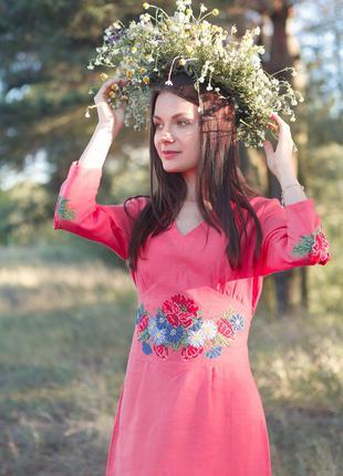 Женское летнее платье с вышивкой Вышиванка Лен от S-2xl