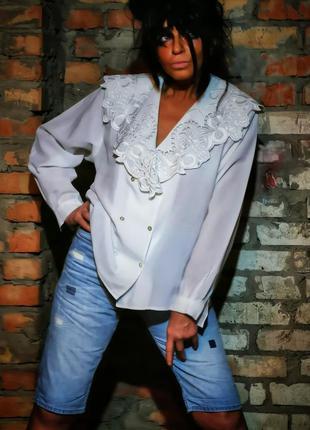 Блуза с кружевным воротником ажурный кружево винтажная ретро в...
