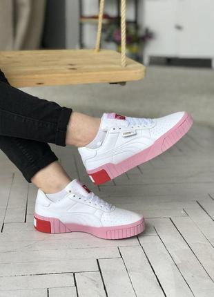 Красивые женские кроссовки puma cali в белом цвете с розовой п...