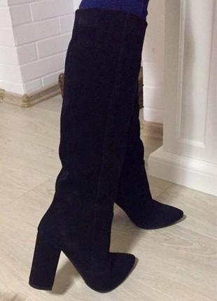 Женские стильные зимние сапоги Angel натуральная черная замша каб