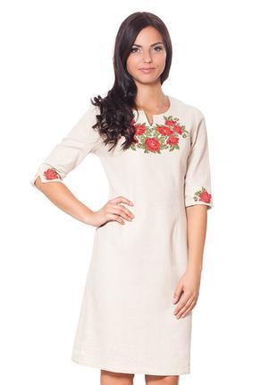 Платье женское 100% лен Вышиванка