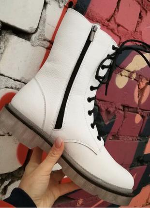 Боты! Dr. Martens! Женские зимние кожаные ботинки на шнуровке с т