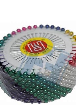 Иголки/булавки портняжные (шариковые, 12 листов) цветная 480 шт