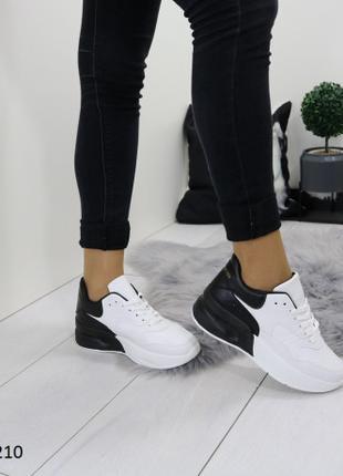 Женские кроссовки белые с черным (1210)