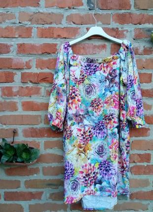 Новое летнее платье батал 52р свободного кроя с открытыми плечами