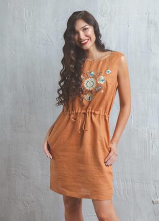 Женское платье с вышивкой, вышиванка, лен