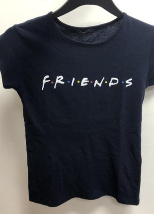 Темно синяя хлопковая футболка friends
