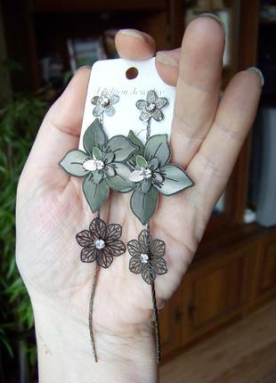 Длинные серьги-пуссеты с ажурными цветами в серебристо-черных ...