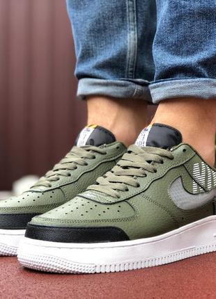 Мужские кроссовки nike air force темно-зелёные