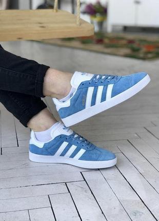 Замшевые женские кроссовки adidas gazelle в синем цвете (36-40)