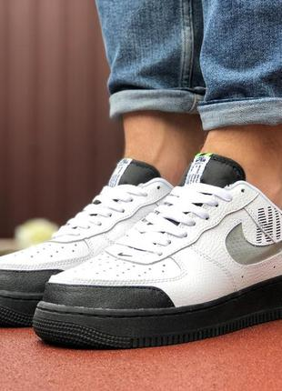Мужские кроссовки nike air force белые с черным