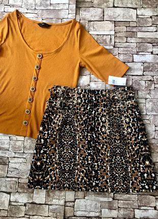 Трендовая юбка трапеция с высокой талией topshop