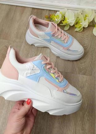 Новинка! разноцветные кроссовки кроссы на массивной грубой под...