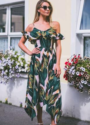 Довга літня сукня сарафан тропіки макси сарафан принт листья