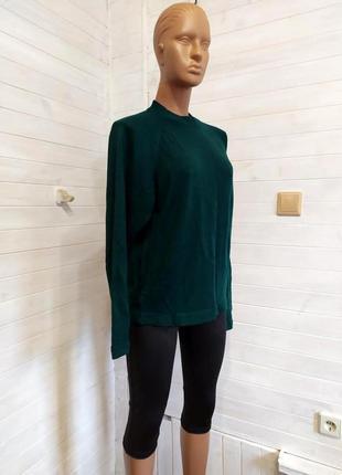Классный мягкий темно-зеленый шерстяной свитер,реглан-унисекс ...