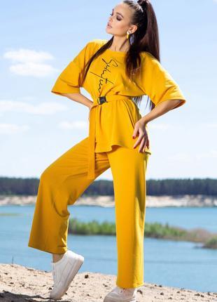 Костюм женский с штанами и футболкой свободного кроя горчичный