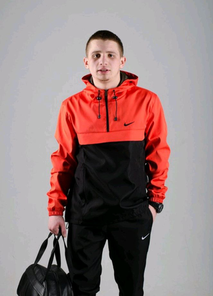 Спортивный костюм мужской Найк, Nike черный - оранжевый. Барсетка