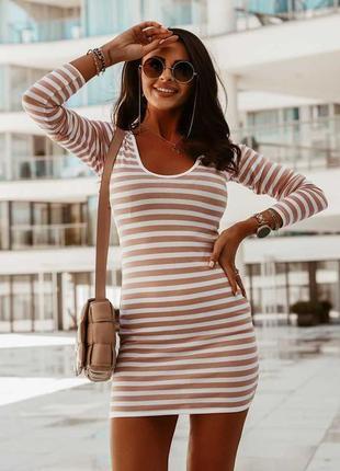 Платье в полоску с микки