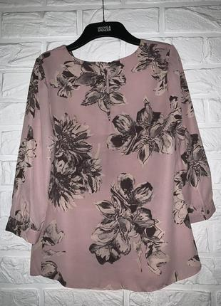 Красивая нарядная блуза пудрово -розовая в серые цветы