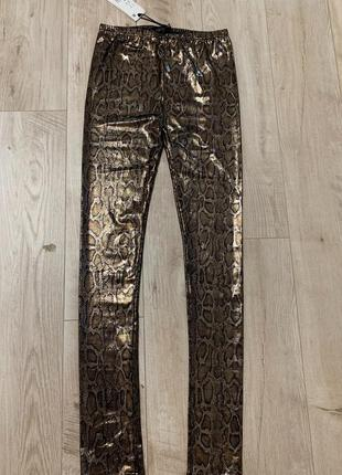 Шикарные золотые лосины модный принт хит сезона леопард размер...