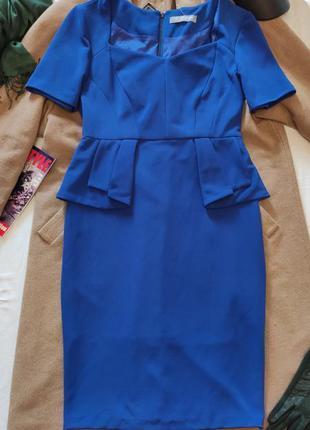 Платье синее с баской классическое миди футляр карандаш marks&...