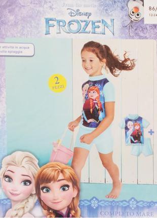 Солнцезащитная плавательная футболка disney anna & elsa 18-24мес