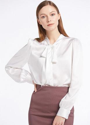 Herstory сатиновая как шелковая блуза с обьемными рукавами с б...